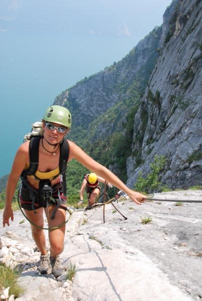 Frauke and Emily on the klettersteig 3 (Lago di Garda)