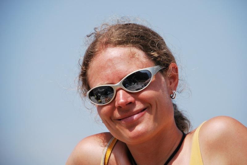 Frauke at top of klettersteig (Lago di Garda)