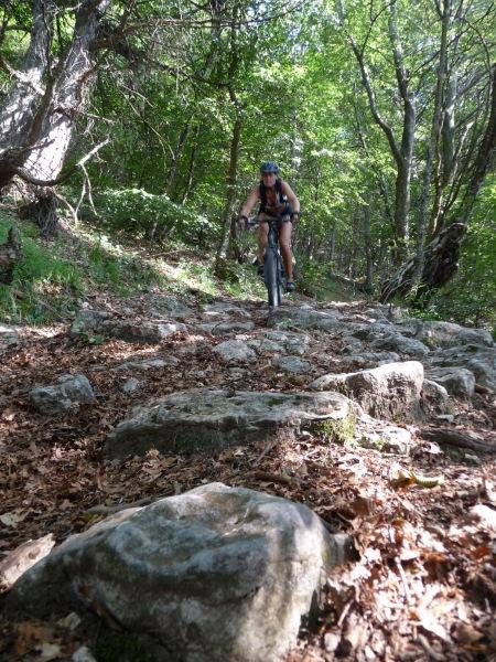 Frauke descending through forest 3 (Lago di Garda, Italy)
