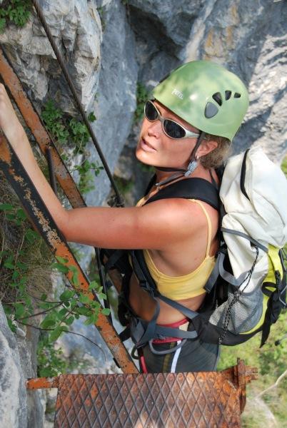Frauke on klettersteig 2 (Lago di Garda)