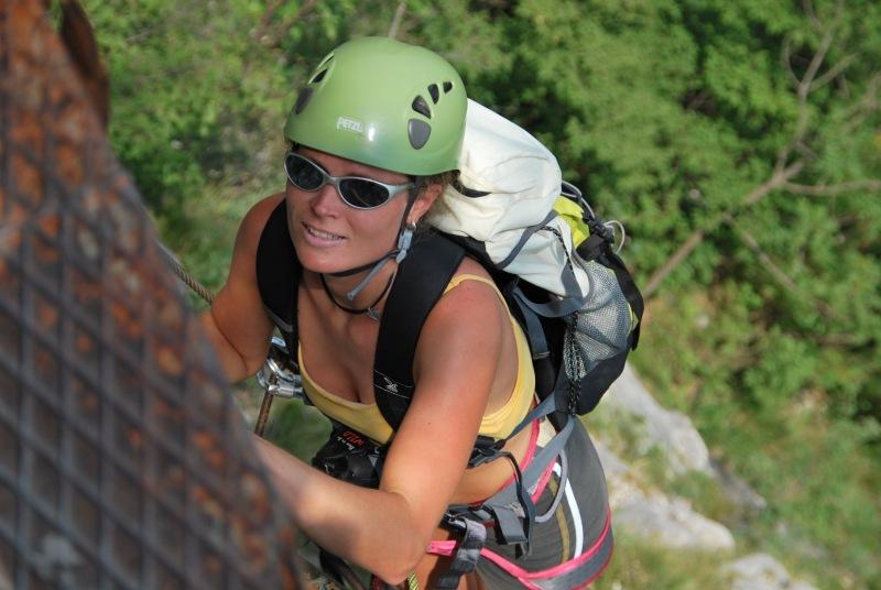 Frauke on klettersteig closeup (Lago di Garda)
