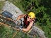 Emily on klettersteig ladder (Lago di Garda)
