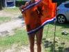 Frauke with her flag (Lago di Garda)