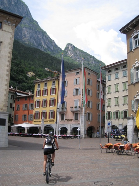 Frauke cycling through Riva (Lago di Garda)