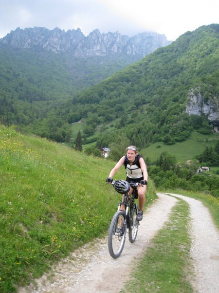 Frauke near the top of the climb (Lago di Garda)