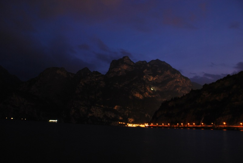View of lake at night (Lago di Garda)