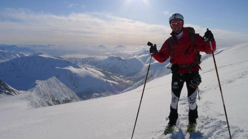 Chris at the top (Langdalstindane, Norway)