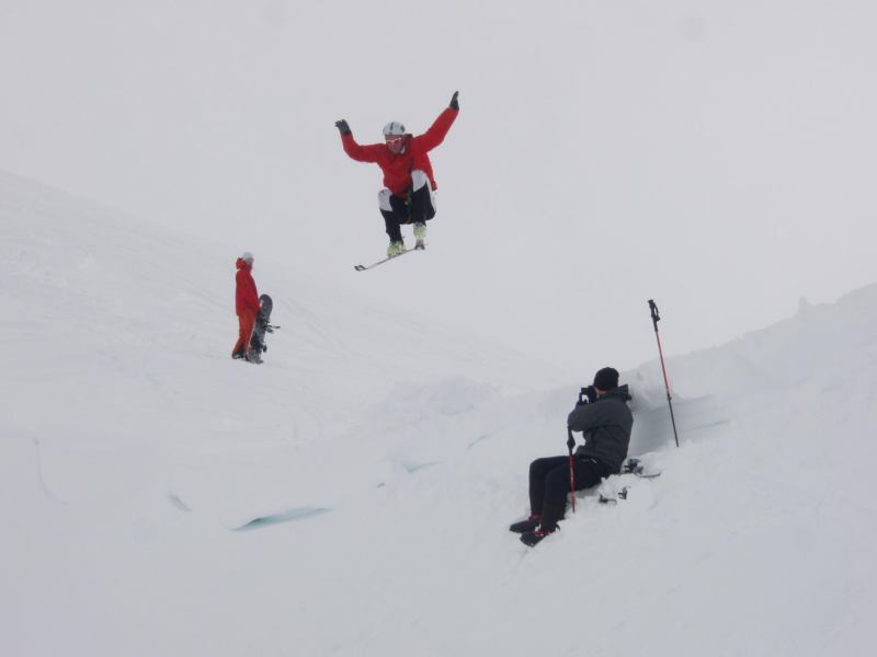 Chris mid jump (Langdalstindane, Norway)