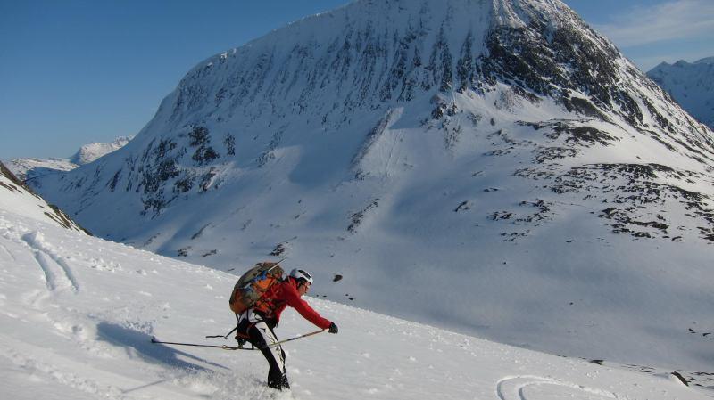 Chris skiing down (Langdalstindane, Norway)