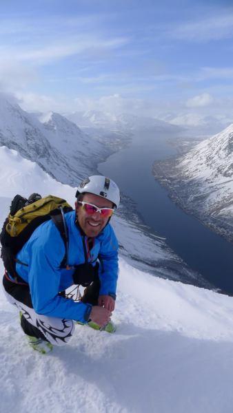 Chris with fiord behind 2 (Rørnestinden, Norway)