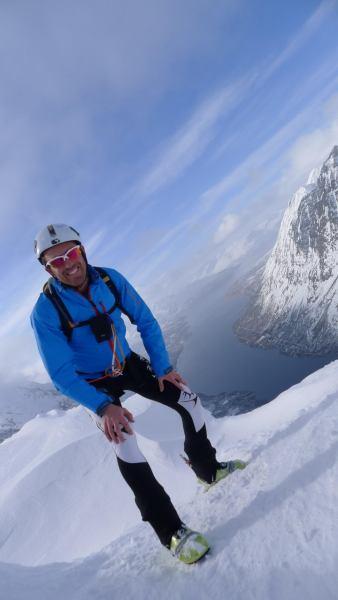 Chris with fiord behind (Rørnestinden, Norway)