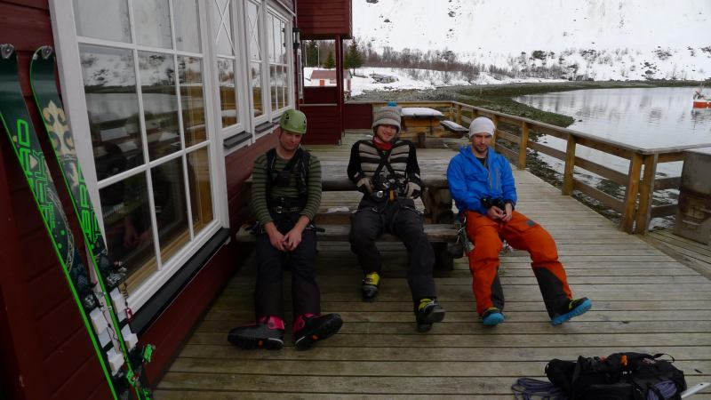 Cris, Hallvard, and Aly on the deck (Lyngen Alps, Norway)