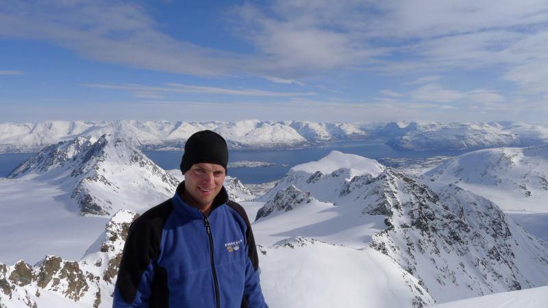 Cris on the summit 4 (Tafeltinden, Norway)
