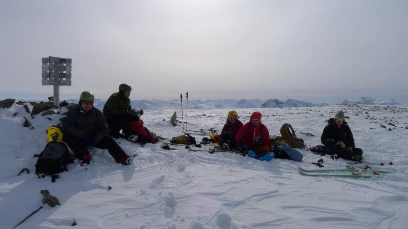 Cris, Tim, Emily, Aly, Hallvard on the summit (Daltinden, Norway)