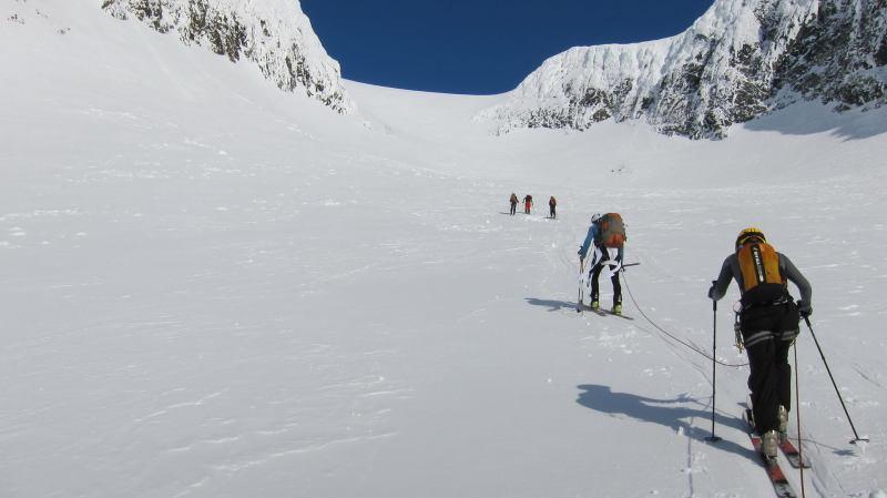 Crossing the glacier (Langdalstindane, Norway)