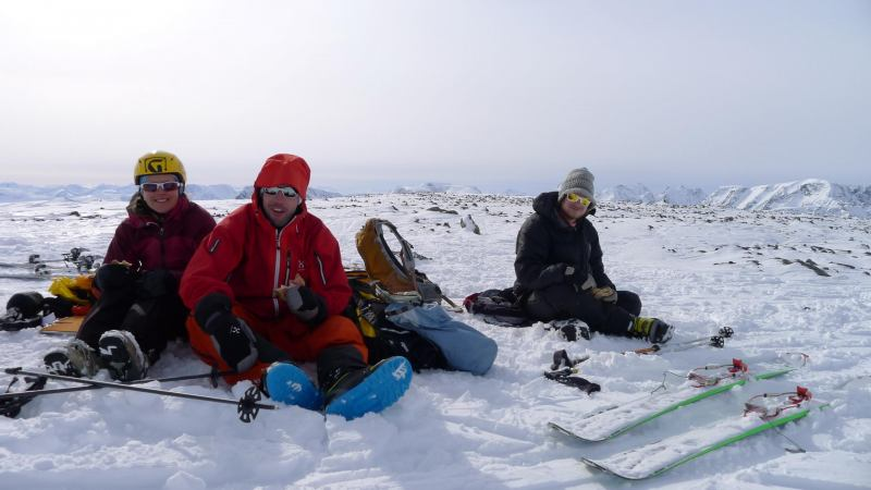 Emily, Aly, Hallvard on the summit (Daltinden, Norway)