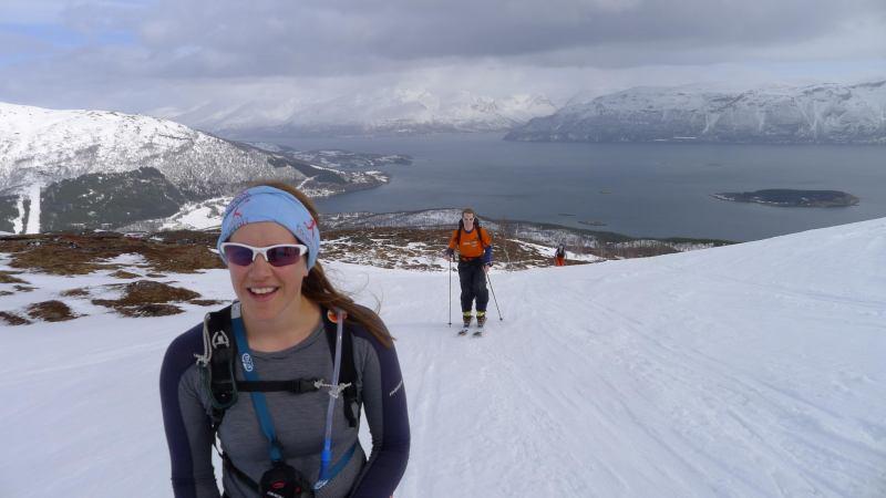 Emily with fiord behind (Rørnestinden, Norway)