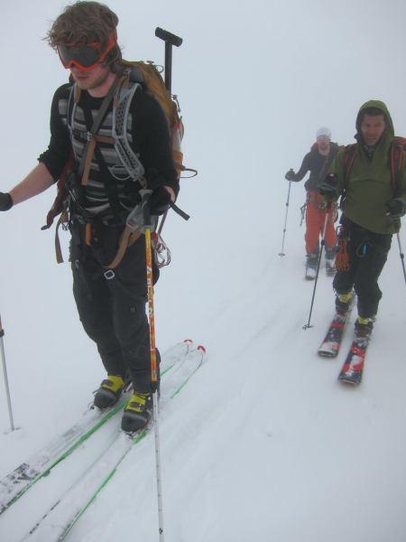 Ski touring in white out (Langdalstindane, Norway)