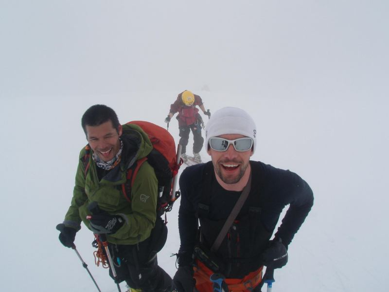 Tim and Aly in white-out (Langdalstindane, Norway)