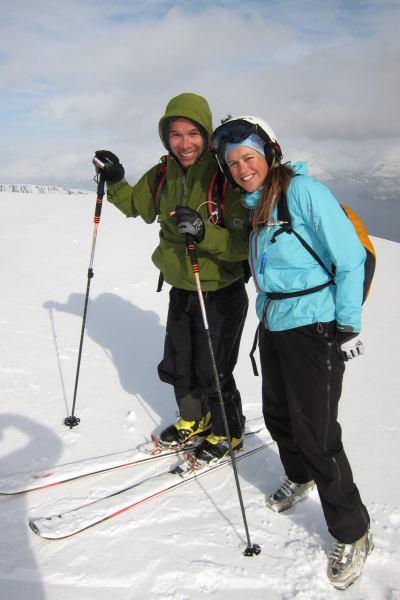 Tim and Em on the summit (Rørnestinden, Norway)