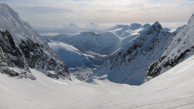 View down glacier (Langdalstindane, Norway)