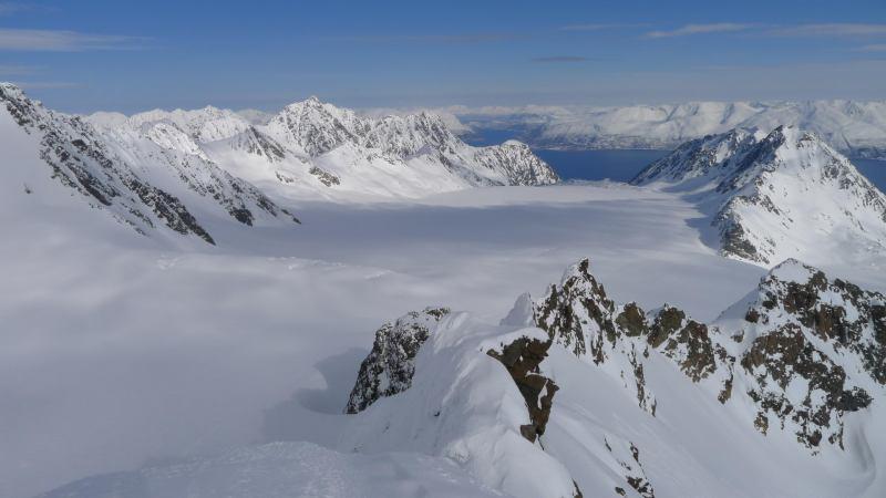 View down towards the fiords (Tafeltinden, Norway)