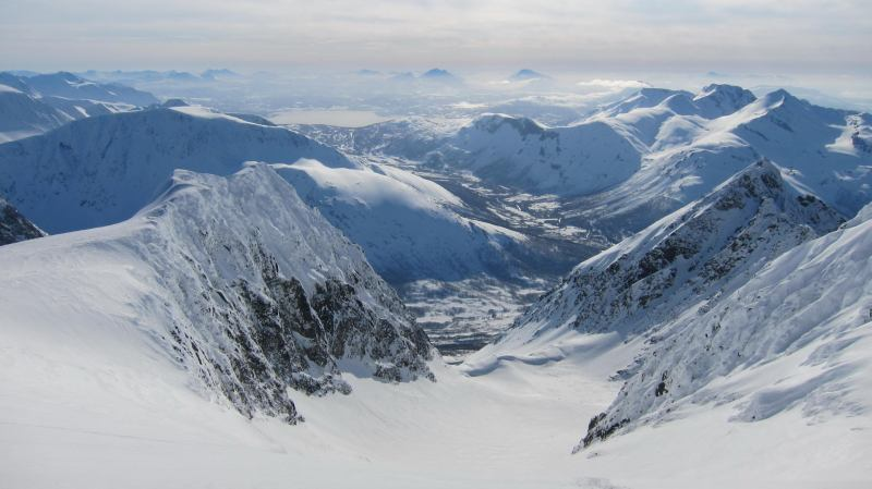 View from above glacier (Langdalstindane, Norway)