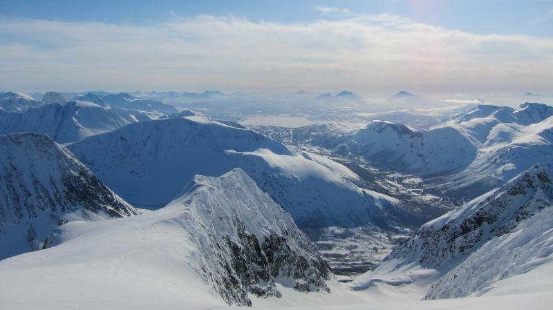 View from summit (Langdalstindane, Norway)