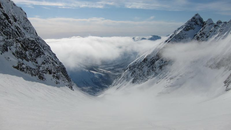 View from the top of the glacier (Langdalstindane, Norway)