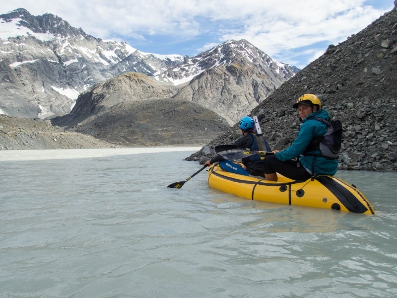 Crossing the Godley Glacier Terminal Lake (Mountain rafting Dec 2018)