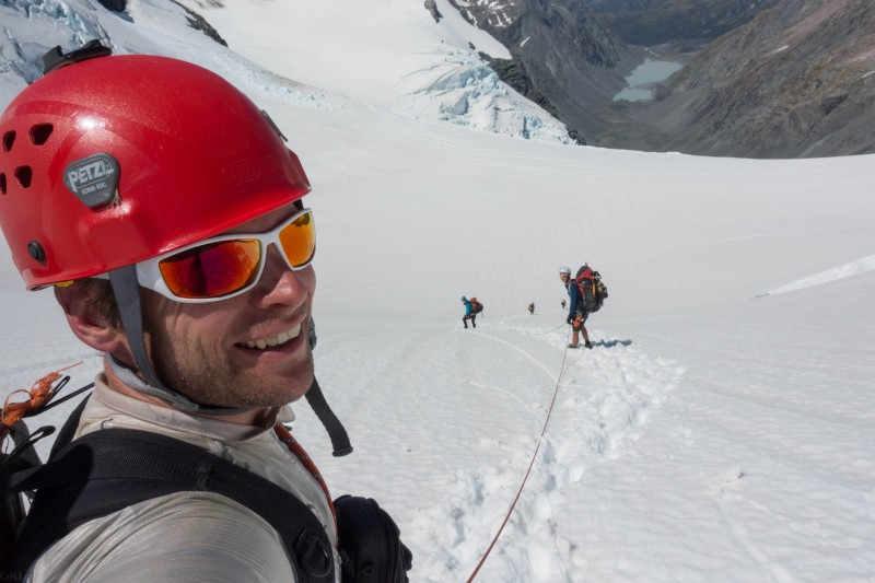 Descending on rope from Rangitata Col (Mountain rafting Dec 2018)