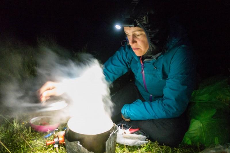 Emily cooking (Mountain rafting Dec 2018)