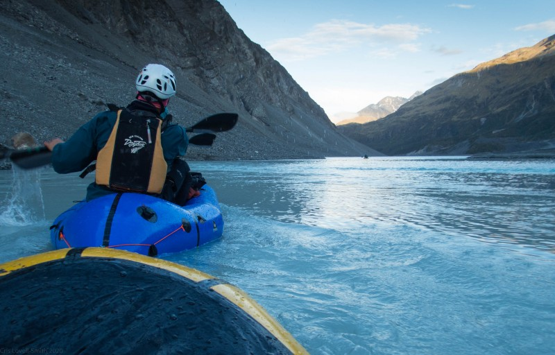 Heading across the Lyell Glacier terminal lake (Mountain rafting Dec 2018)