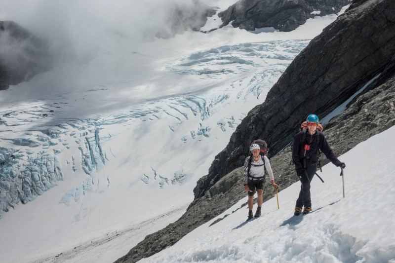 Pat and Georgia above the Frances Glacier (Mountain Rafting Dec 2018)