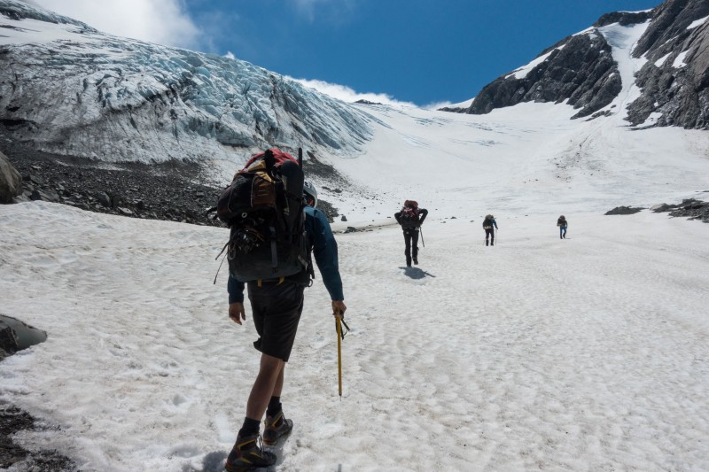 Walking up the Frances Glacier (Mountain Rafting Dec 2018