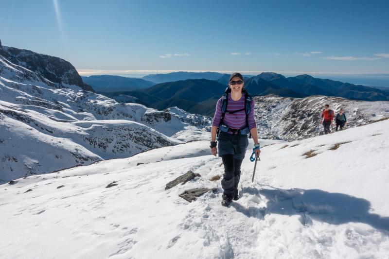 Megan in the snow (Walk up Mt Arthur July 2021)