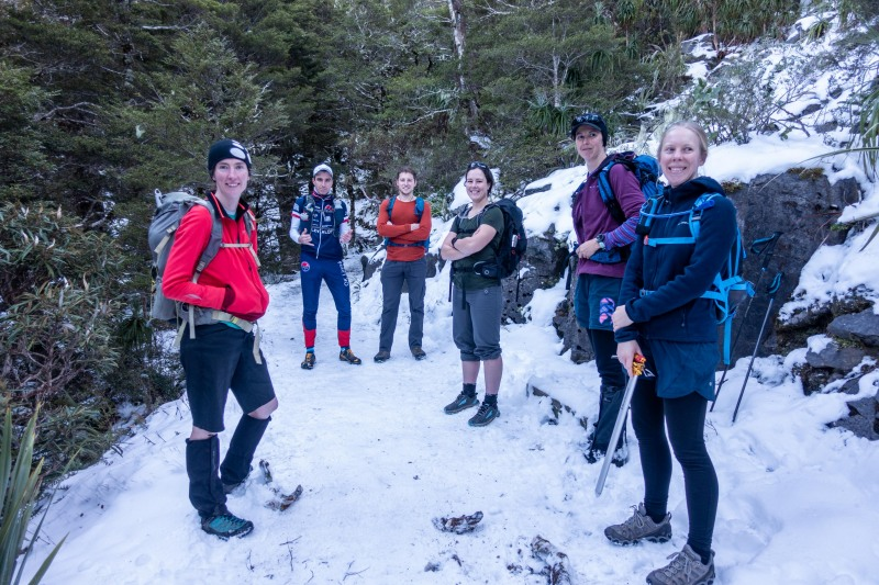 On a snowy track (Walk up Mt Arthur July 2021)