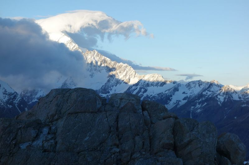 Mt Cook and cloud (Mueller Hut Jan 2014)