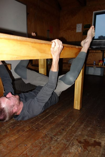 William does a table traverse (Mueller Hut Jan 2014)