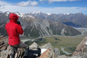 William on the ridge to Mt Ollivier (Mueller Hut Jan 2014)