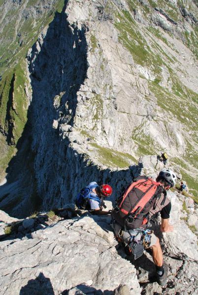 Climbing down (Nebelhorn Klettersteig, Germany)