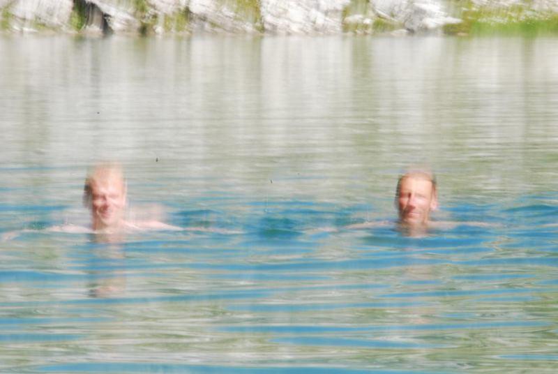 Cris and Peter swimming (Nebelhorn Klettersteig, Germany)
