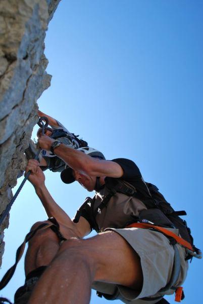 Peter descending (Nebelhorn Klettersteig, Germany)