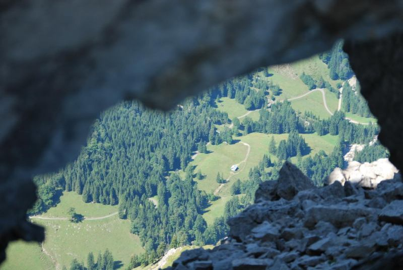 View through rocks 2 (Nebelhorn Klettersteig, Germany)