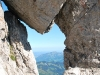 View through rock (Nebelhorn Klettersteig, Germany)