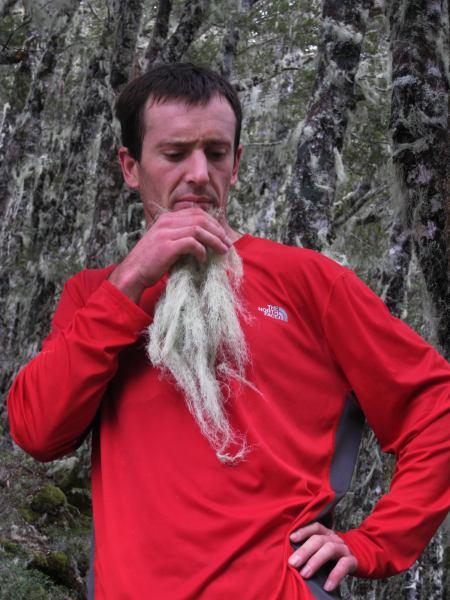 Chris thoughtfully strokes his beard (The Pyramid, Arthurs Pass)