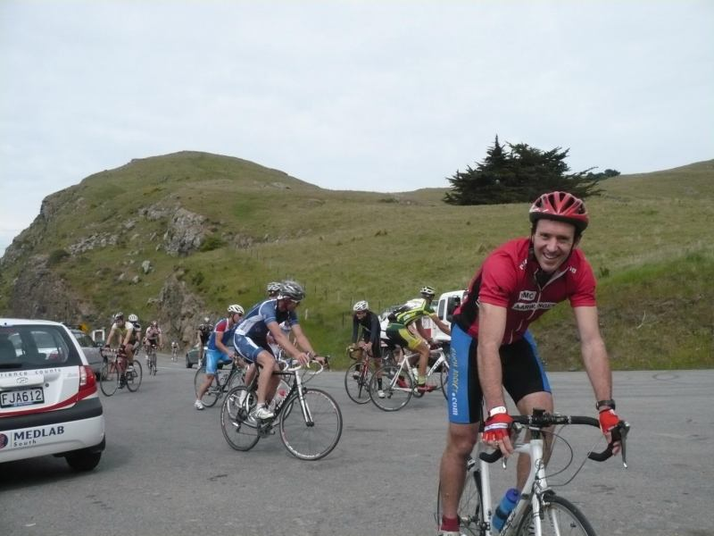 Chris with Tuesday World riders behind (Christchurch)