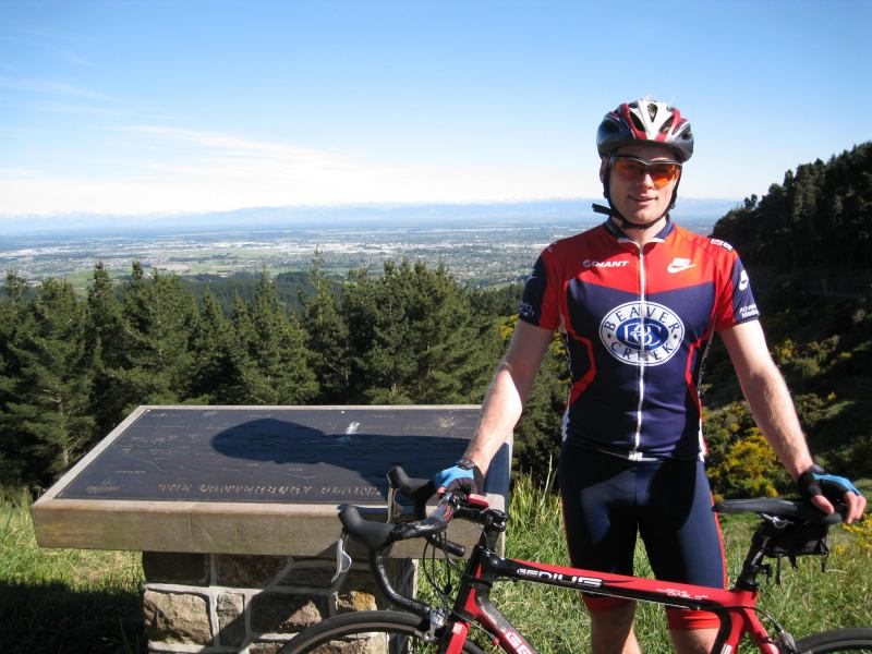 Cris with his bike on the port hills (Christchurch)