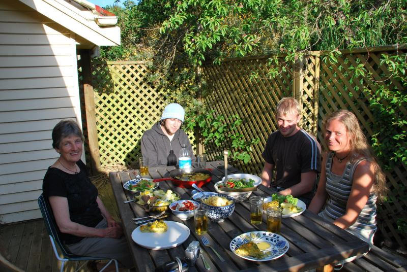 Eating dinner with Mum, Toby, and Frauke 5 (Christchurch)