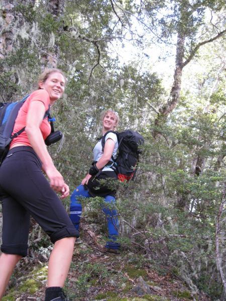 Frauke and Gina in bush climbing the pyramid (Arthurs Pass)